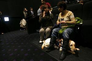 音声ガイド付きの映画上映会の様子